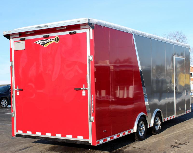 <b>Need Extra Height?</b> 2020 2-Tone 24' Millennium Extreme Race Car Trailer w/Spread Axle w/Rear Wing
