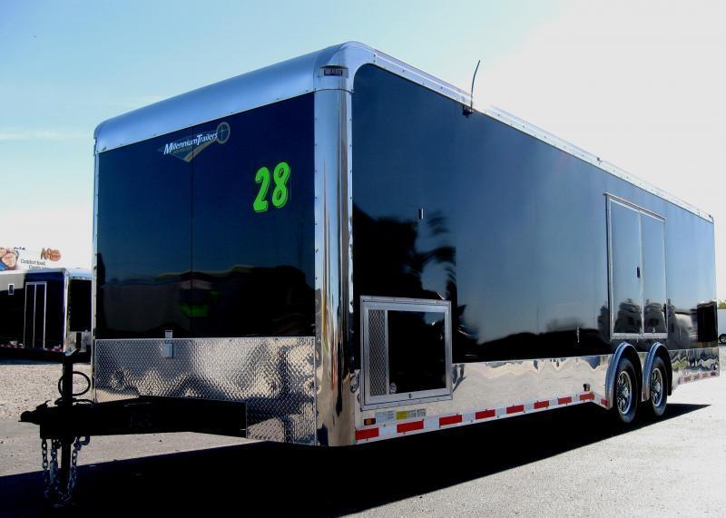2019 28' Millennium Spread Axle Enclosed Race Trailer