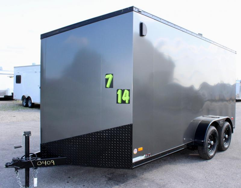 <b>NEW BLACK OUT TRIM PKG</B> 2020 7'x14' Scout Enclosed Cargo Trailer with Ramp Door FREE OPTIONS