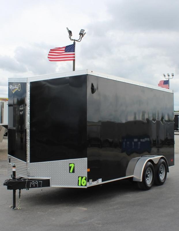 "<b>5200# AXLES</b> 2020 7' x 16' V-Nose Millennium Transport Trailer w/Ramp Door 6"" Extra High"