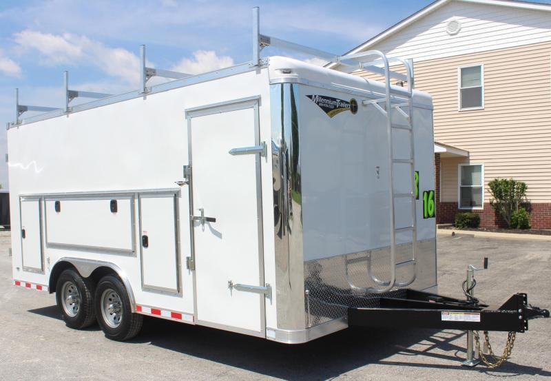 <b>REDUCED</b>  Contractor's Dream Trailer  8.5 x 16' 2020 Millennium Work Mate Enclosed Cargo Trailer