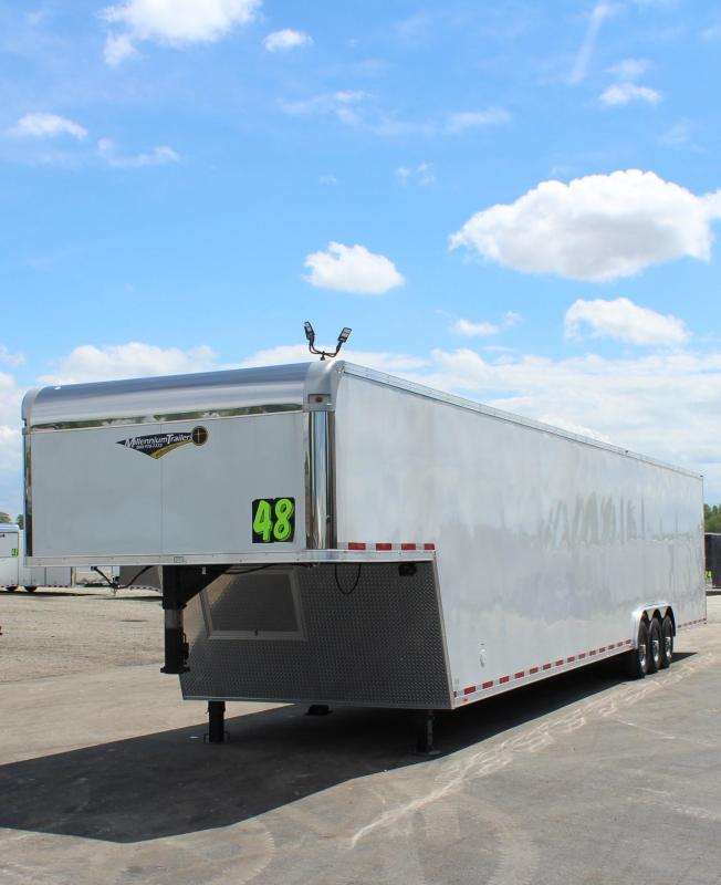 <b>160' DBLE ROWED RECESSED E-TRACK</b> 2020 48' Millennium Silver Gooseneck  Wide Ramp Door Triple 7K Axles