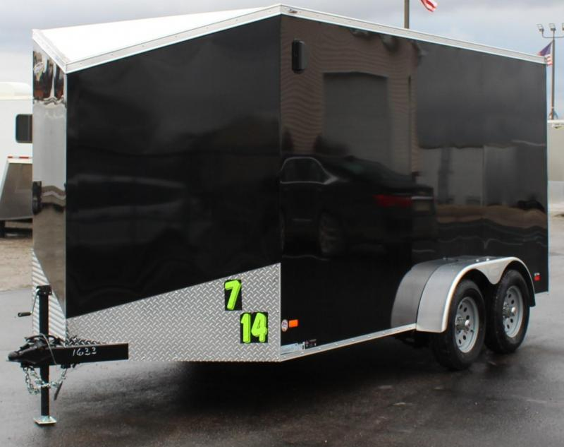 "<b>Ready For Pickup Today</b> 2020 7'x14' V-Nose Millennium Scout Cargo Trailer Ramp Door/6"" Extra"