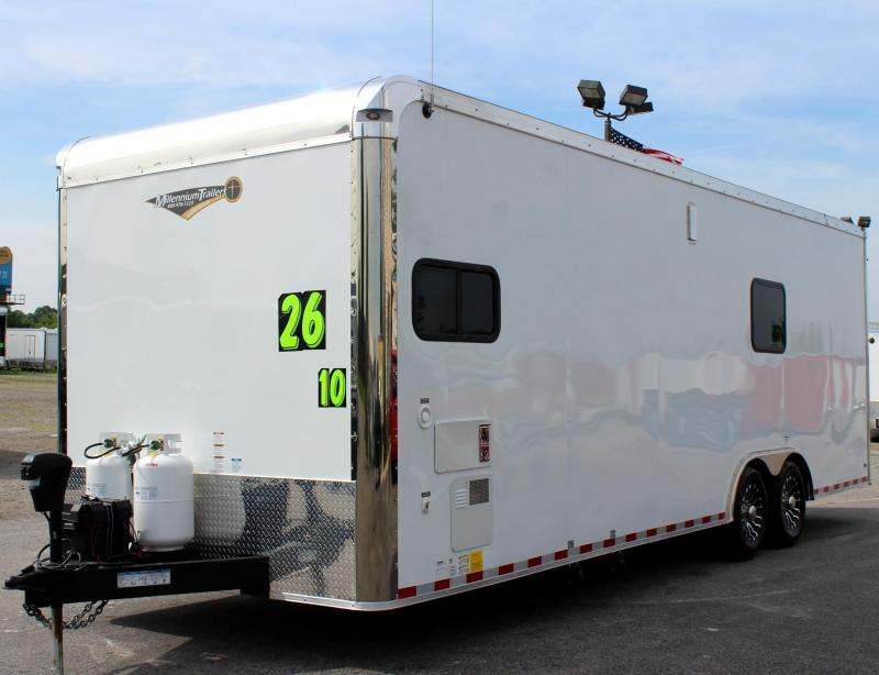 <b> ORDER TODAY!</b> 26' Millennium Enclosed Car Trailer/Toy Hauler Tons of Options Added! Black Cabinets