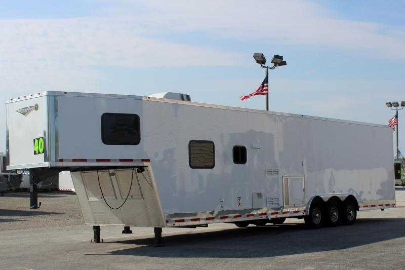 <b>PRI PRE-SALE w/FREE PORTABLE GENERATOR  $42999</b>   2020 40' Millennium Silver Enclosed Gooseneck Race Car Trailer w/12'XE Living Quarters