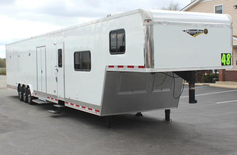 <b>IN STOCK & READY</b> 2020 48' Millennium Silver Gooseneck w/12' Sofa + 8' Living Quarters DRAGSTER PACKAGE