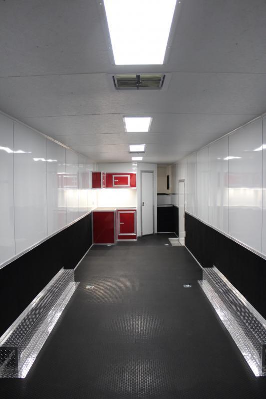 <b>BIG BATHROOM</b> 2019 48' Millennium Platinum GN  Red Cabinets Just Add Mattress!