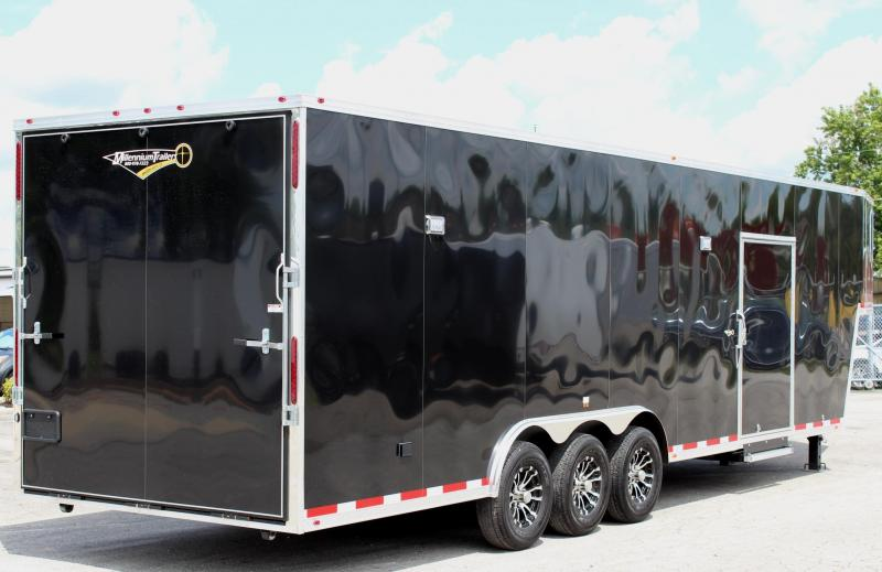 "NOW READY 2020 Black 36' Millennium Gooseneck w/Tapered Nose Alum Wheels Hydraulic Jack 16"" Wheels"