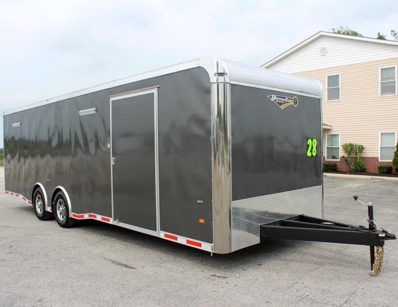 <b>Now Ready</b> 2019 28' Millennium Thunderbolt Enclosed Race Car Trailer Charcoal Cabinets/Alum Wheels/Spread 6K Axles