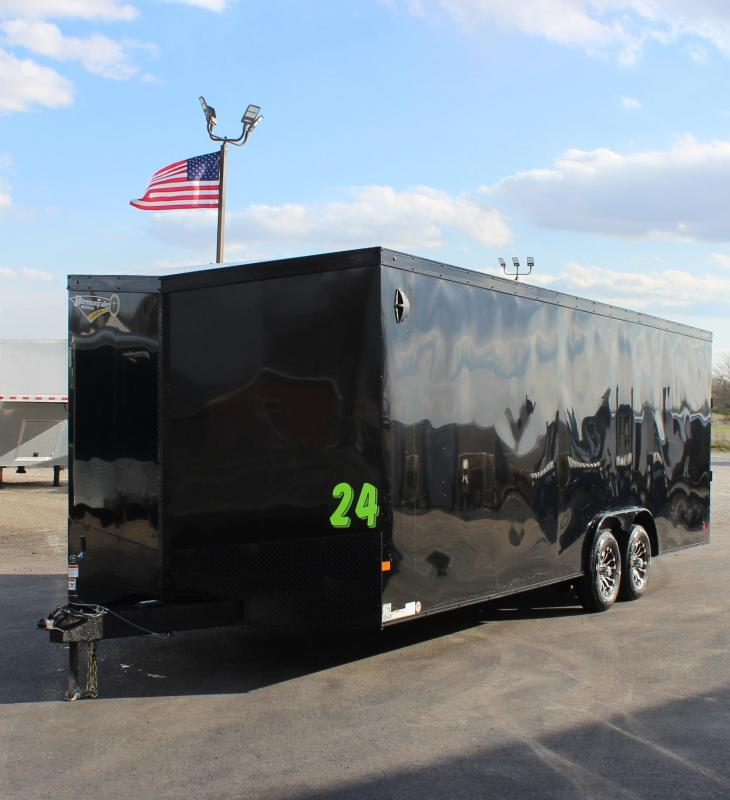 <b>BLACK EXTERIOR w/BLACK-OUT PKG</b> 2020 24' Transport Slant V  Nose Car Trailer White Walls & Ceiling