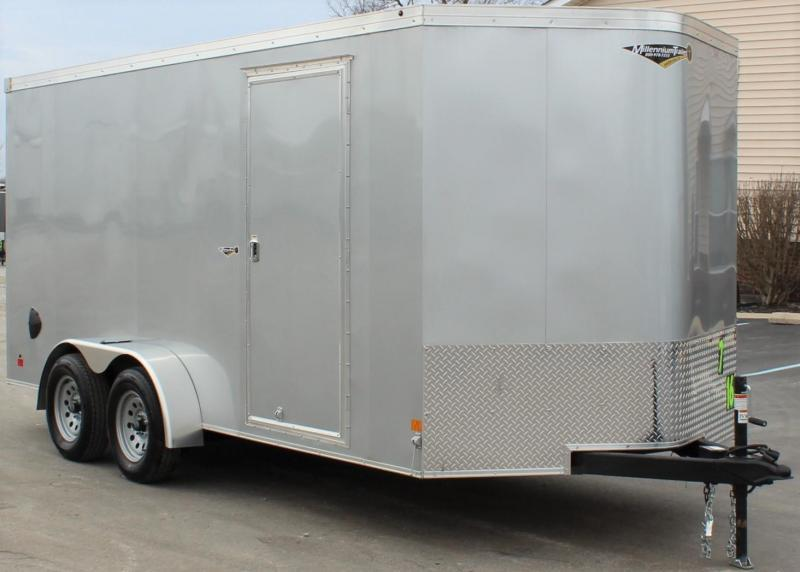 <b>Now Available</b> 2020 7'x16' V-Nose Millennium Transport Cargo Trailer w/Ramp Door