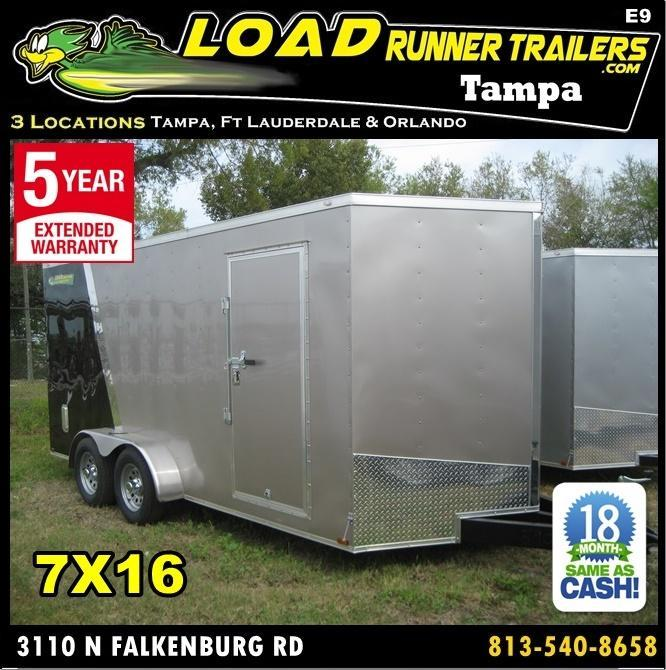 *E9* 7x16 Enclosed Trailer Cargo Tandem Axle Trailers 7 x 16 | EV7-16T3-R