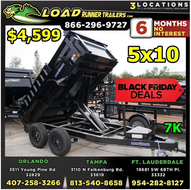 *BFD510 FTL* 5x10 7K Dump Trailer BLACK FRIDAY