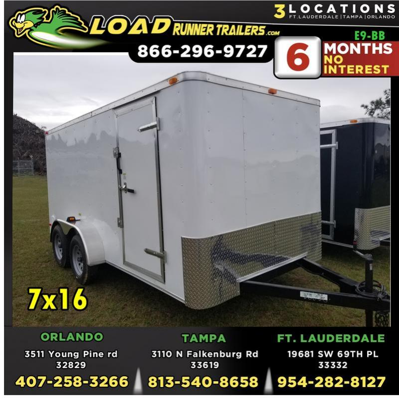 *E9-BB* 7x16 Enclosed Trailer Cargo Tandem Axle Trailers 7 x 16 | EV7-16T3-R