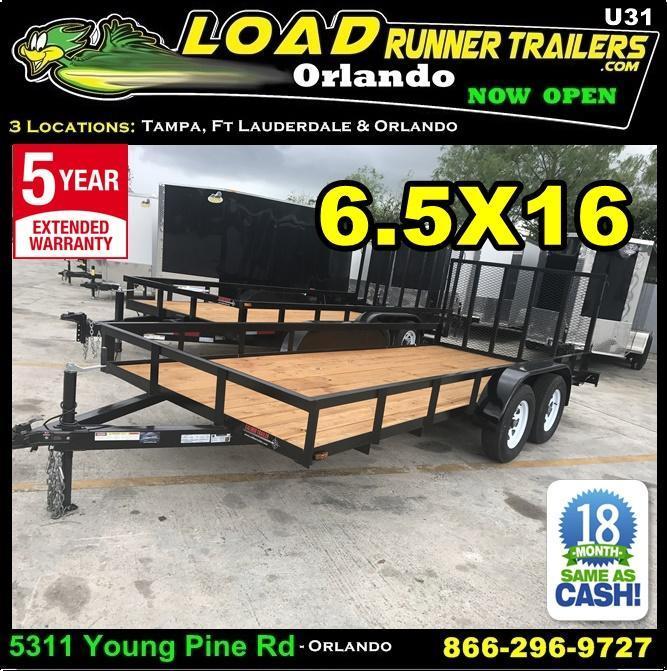 *U31* 6.5x16 Utility Trailer Tandem 3500# Axles w/Ramp 6.5 x 16 | U78-16T3-0B-AR