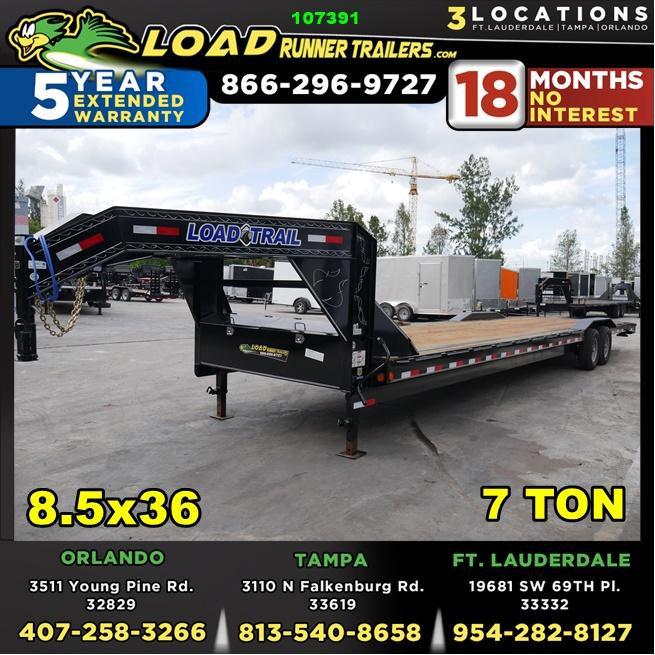 *107391* 8.5x36 Gooseneck Car Trailer |Drive Over Fenders | Load Trail Trailers 8.5 x 36 | CHG102-36T7-DOF
