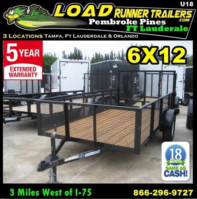 *U18* 6x12 Utility ATV Lawn Trailer w/ 2' MESH 6 x 12 | U72-12S3-AR/2M
