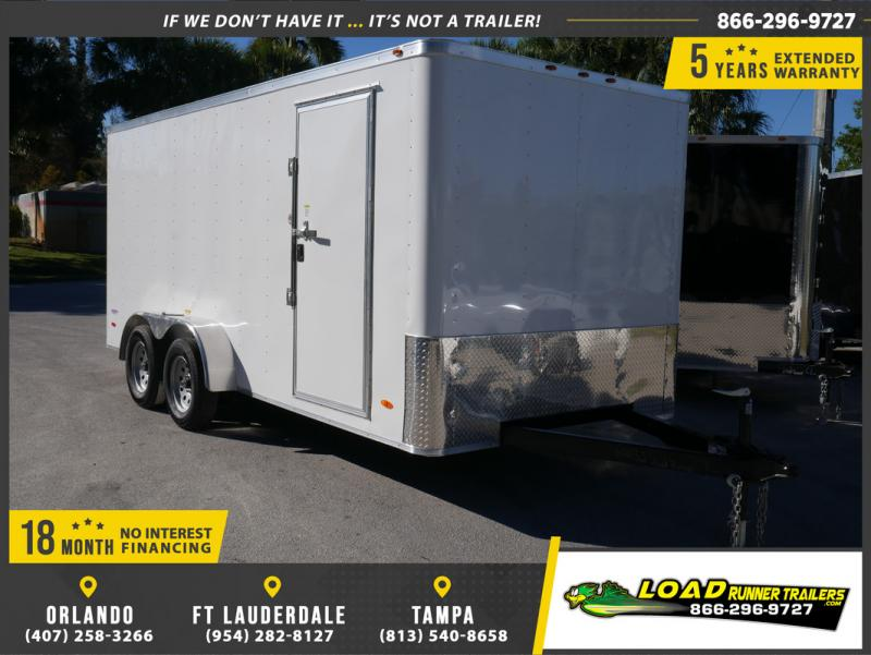 *E9J* 7x16 Enclosed Cargo Trailer Tandem Axle Hauler|RAMP 7 x 16 | EV7-16T3-R