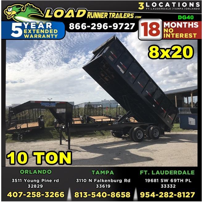*DG40* 8x20 10 TON Trailers  Gooseneck Dump Trailer 8 x 20   DG96-20T10-48S