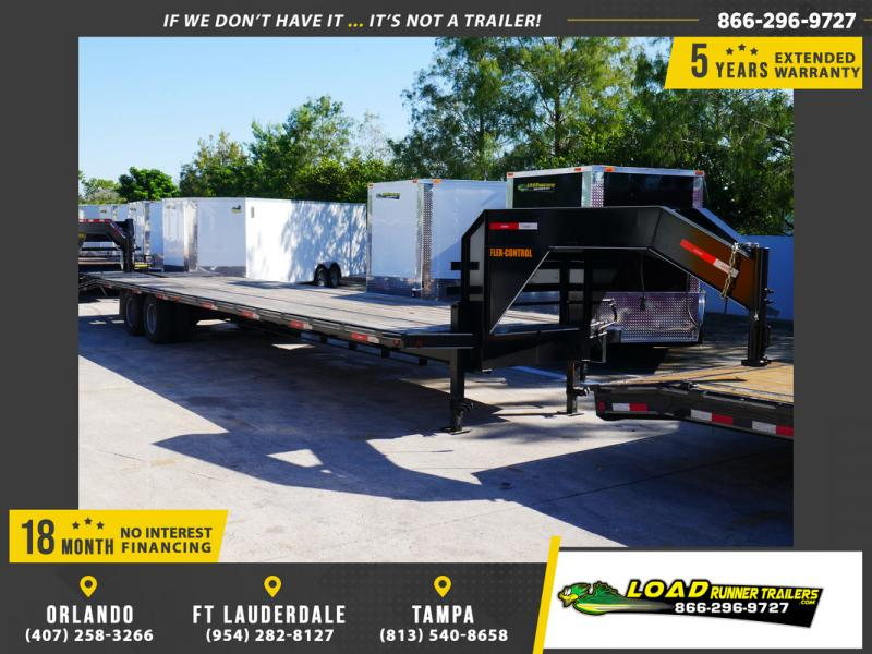 *107793* 8.5x36 Gooseneck Flatbed Deck Over Trailer w/Mega Ramps |LR Trailers 8.5 x 36