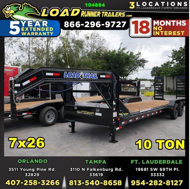 *104884* 7x26 Gooseneck Equipment Trailer |LRT Haulers & Trailers 7 x 26 | EQG82-26T10T-KR