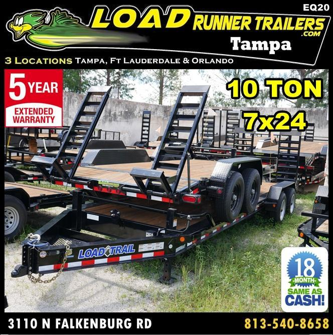 *EQ20* 7x24 10 TON Super Single Equipment Hauler Trailer w/Kicker Ramps 7 x 24   EQ82-24T10T-KR