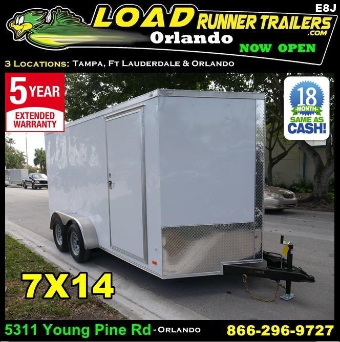 *E8J* 7x14 New Enclosed Trailer | 5 Yr Warranty Enclosed Cargo Trailer 7 x 14 | EV7-14T3-R