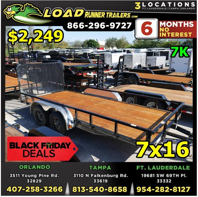 *BFU716 ORL* 7x16 BLACK FRIDAY - Utility|Lawn |LRT Tandem Axle Trailers 7 x 16