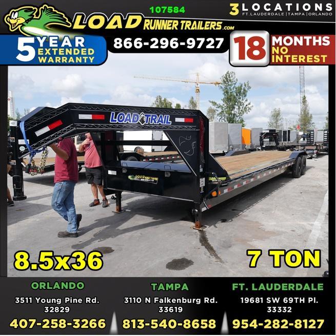*107584* 8.5x36 Gooseneck Car Trailer |LRT Tandem Axle Trailers 8.5 x 36 | CHG102-36T7-DOF