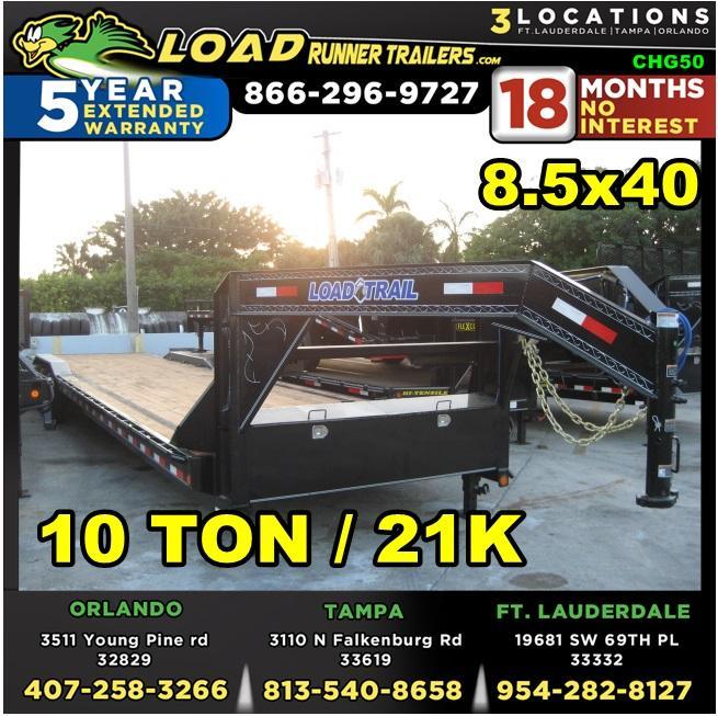 *CHG50* 8.5x40 10 TON Gooseneck Car Hauler Trailer |21K Trailers 8.5 x 40 | CHG102-40TT7-DOF
