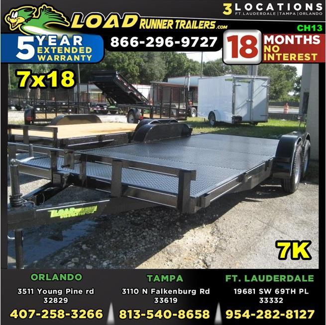 *CH13* 7x18 7K Steel Deck Car Hauler Trailer |LR Trailers & Haulers 7 x 18 | CH82-18T3-1B-SD