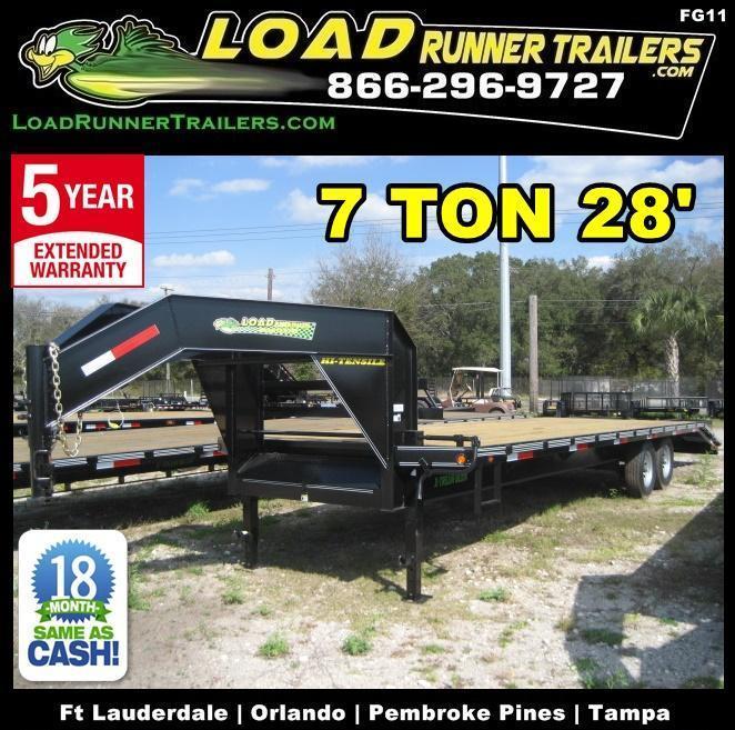 *FG11* 8.5x28 7 TON Gooseneck Flatbed  LR Trailers & Goosenecks 8.5 x 28   FG102-28T7-FF
