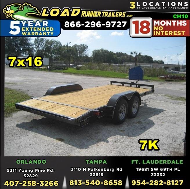 *CH10* 7x16 7K Car Hauler Trailer W/Brakes LR Trailers & Haulers 7 x 16   CH82-16T3-1B
