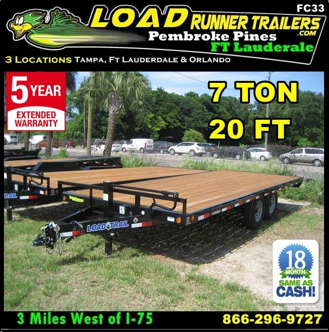 *FC33* 8.5x20 7 TON Flatbed |Butt End Deck Over Trailer |LR Trailers 8.5 x 20 | FC102-20T7-BE