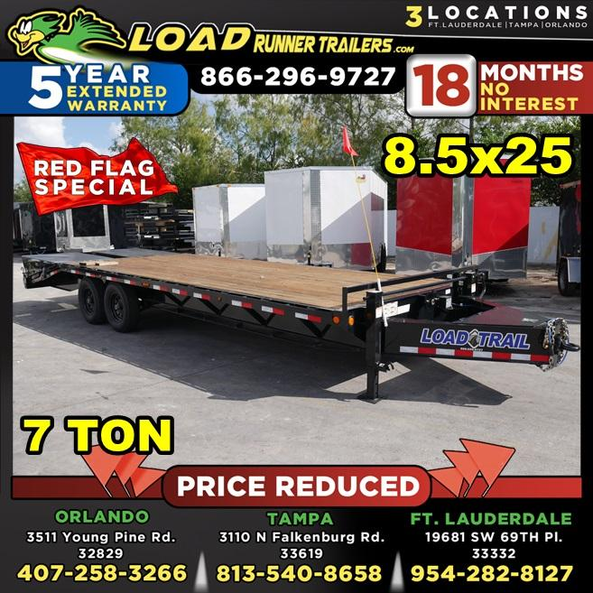 *105872* 8.5x25 Flatbed Deck Over Trailer |LRT Tandem Axle Trailers 8.5 x 25