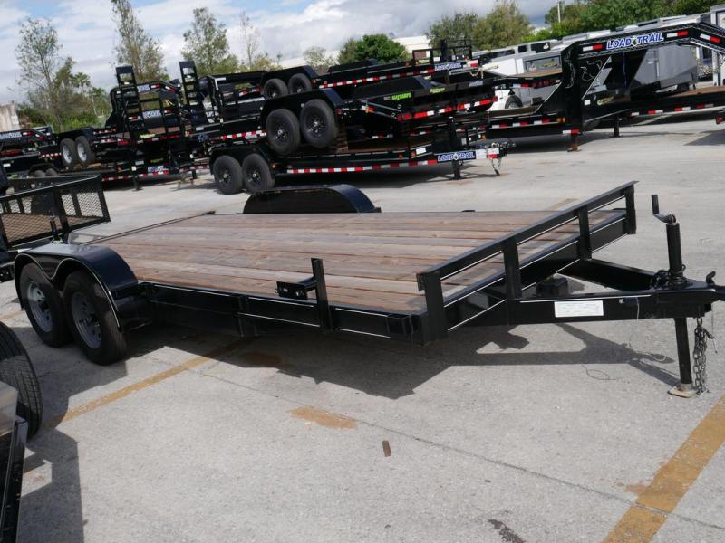 *107455* 7x18 Car Hauler Trailer w/Slide In Ramps |LRT Tandem Axle Trailers 7 x 18 | CH82-18T3-1B