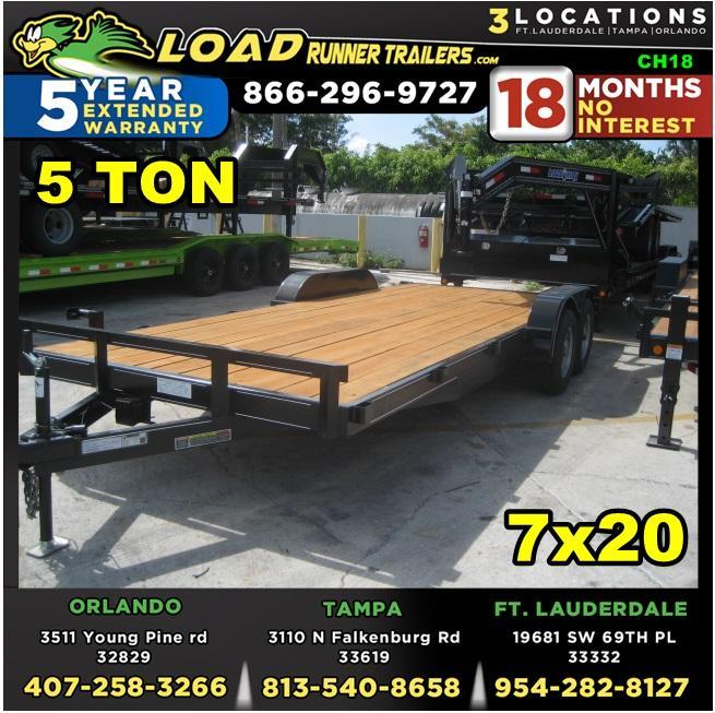 *CH18* 7x20 5 TON Car Hauler Trailer |Car Haulers & Trailers 7 x 20 | CH82-20T5-2B