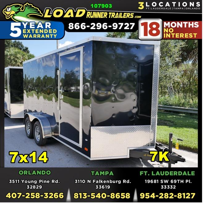*107903* 7x14 Gold Series Enclosed Cargo Trailer |LRT Tandem Axle Trailers 7 x 14 | EV7-14T3-R