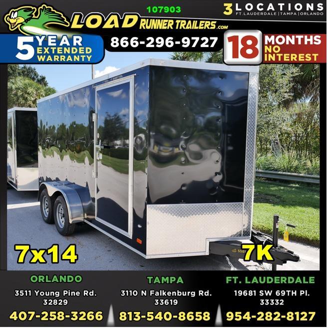 *107903* 7x14 Gold Series Enclosed Cargo Trailer |LRT Tandem Axle Trailers 7 x 14 | EV7-14T3-R