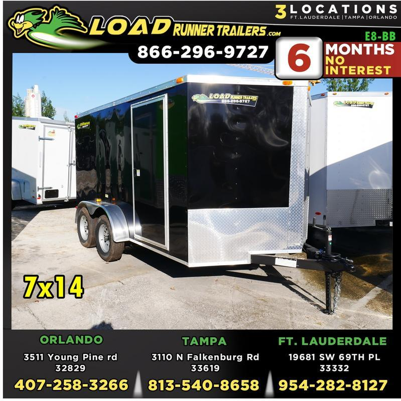 *E8-BB* 7x14 Enclosed Trailer Cargo Tandem Axle Big Band 7 x 14 | EV7-14T3-R