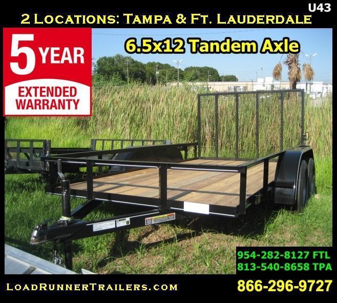 *U43* 6.5x12 Utility Trailer Tandem 3500 lb Axles 6.5 x 12 | U76-12T3-0B-AR