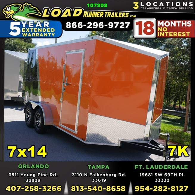 *107998* 7x14 Enclosed Cargo Trailer w/Spider Mag Aluminum Wheels | LRT Trailers 7 x 14