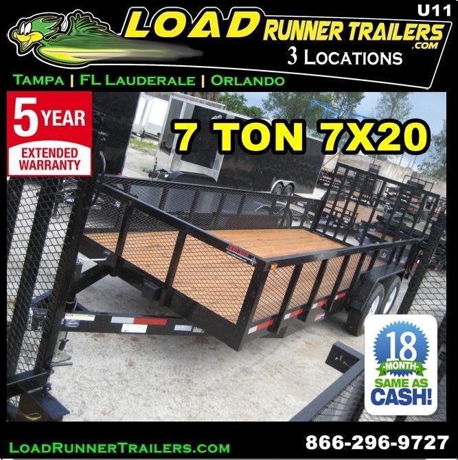 *U11* 7X20 7 TON  Utility Trailer w/TUBE RAIL Heavy Duty 7 x 20 | U84-20T7-2B-TR/2M