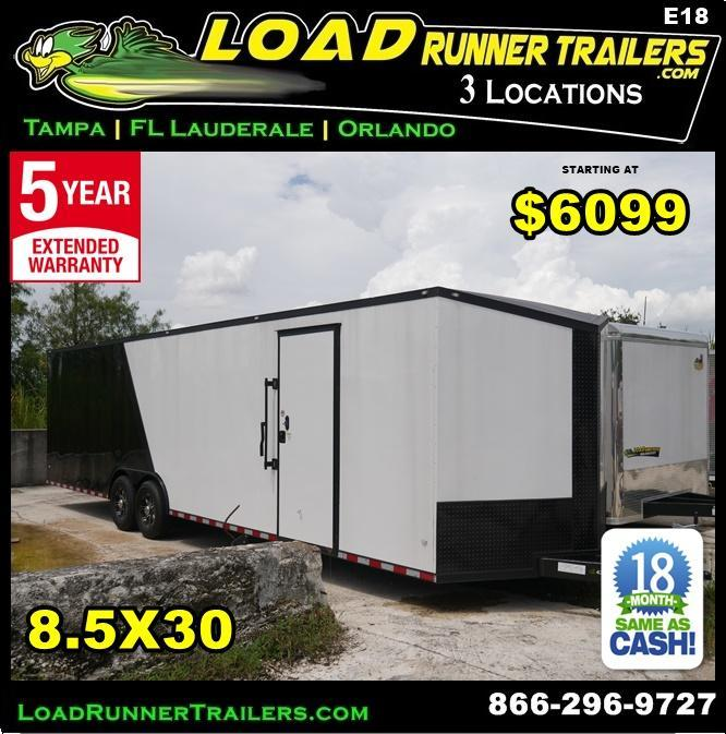 *E18* 8.5x30 Enclosed Car Hauler Trailer Cargo Trailers 8.5 x 30 | EV8.5-30T7-R