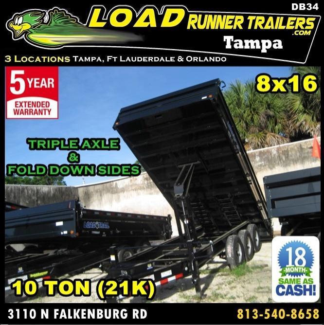 *DB34* 8x16 10 TON Triple Axle 21K Dump Trailer Trailers Fold Down Sides 8 x 16 | D96-16TT7-18S