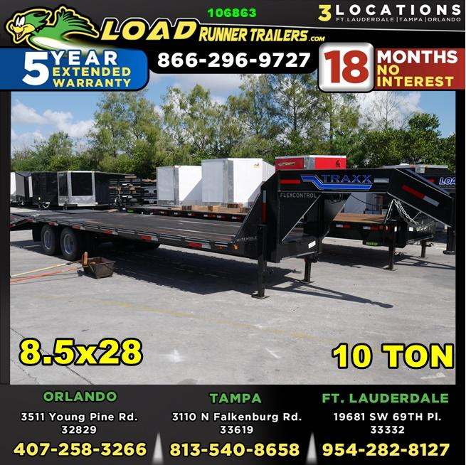 *106863* 8.5x28 Gooseneck Flatbed Deck Over Trailer |LRT Haulers & Trailers 8.5 x 28