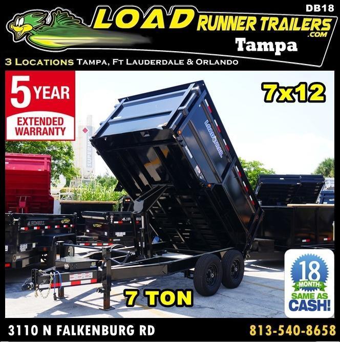 *DB18* 7x12 14K Load Trail Trailers  Dump Trailer 4FT Sides 7 x 12   D83-12T7-48S
