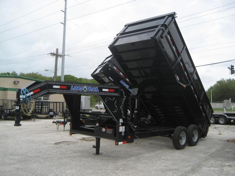 *DG27* 7x16 7 TON Gooseneck Dump Trailer 4 Ft Sides LRT Trailers 7 x 16 | DG83-16T7-24S+24