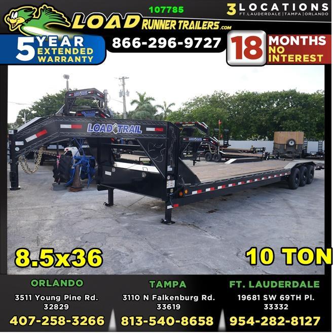 *107785* 8.5x36 Load Trail Gooseneck Car Hauler Trailer | Tandem Axle Trailers 8.5 x 36 | CHG102-36TT7-DOF