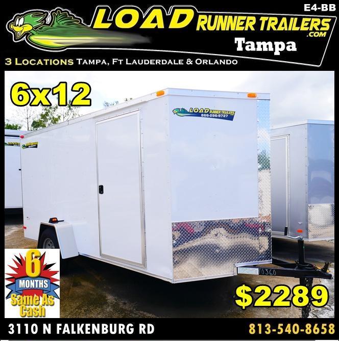 *E4-BB* 6x12 Enclosed Trailer Cargo L R Box Lawn Trailers 6 x 12 | EV6-12S3-R